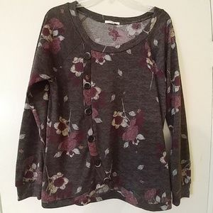 MAURICES Fall Gray Floral Sweater Career Top M
